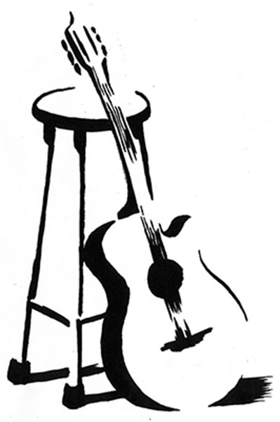 croquis d'une guitare adossée à un tabouret